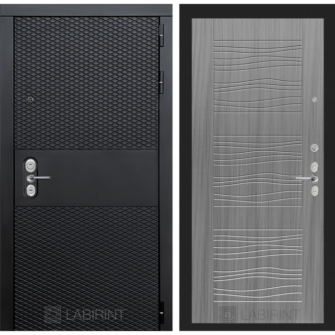Стальная дверь Лабиринт BLACK 06 (Сандал серый)