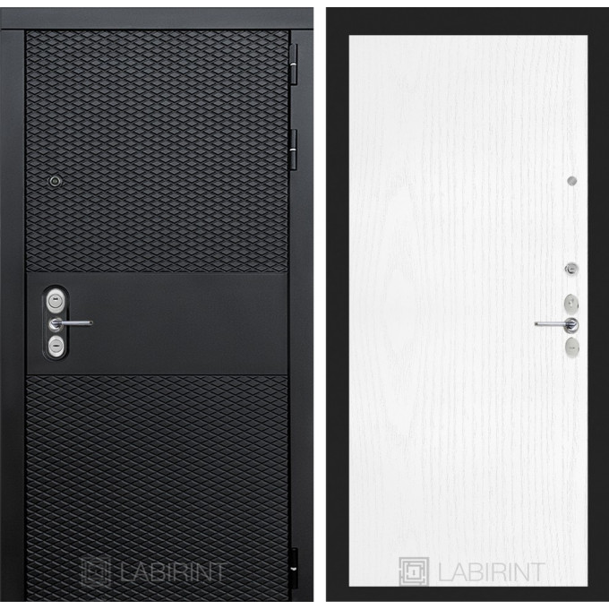 Стальная дверь Лабиринт BLACK 07 (Белое дерево)
