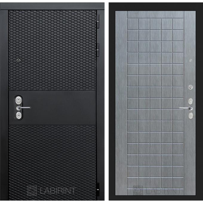 Стальная дверь Лабиринт BLACK 09 (Лен сильвер грей)