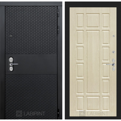 Стальная дверь Лабиринт BLACK 12 (Беленый дуб)
