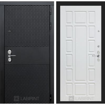 Стальная дверь Лабиринт BLACK 12 (Белое дерево)
