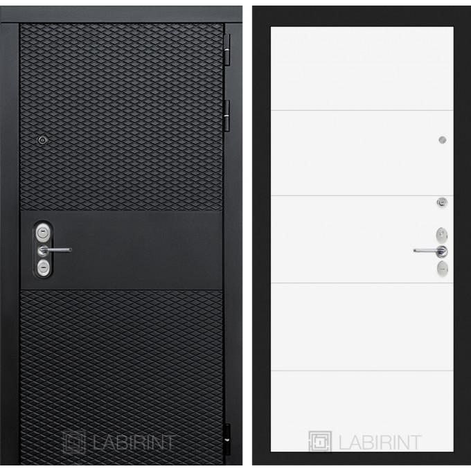 Стальная дверь Лабиринт BLACK 13 (Белый софт)
