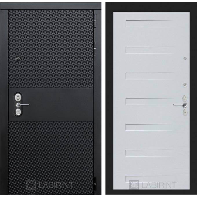 Стальная дверь Лабиринт BLACK 14 (Дуб кантри белый)
