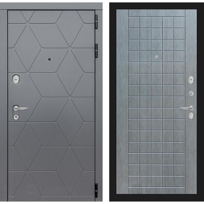 Стальная дверь Лабиринт COSMO 09 (Лен сильвер грей)