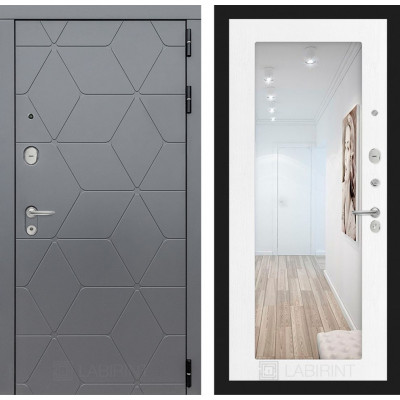 Стальная дверь Лабиринт COSMO 18 с зеркалом (Белое дерево)