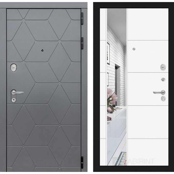 Стальная дверь Лабиринт COSMO 19 с зеркалом (Белый софт)