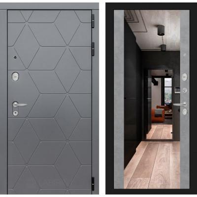 Стальная дверь Лабиринт COSMO Максимум с зеркалом (Бетон светлый)