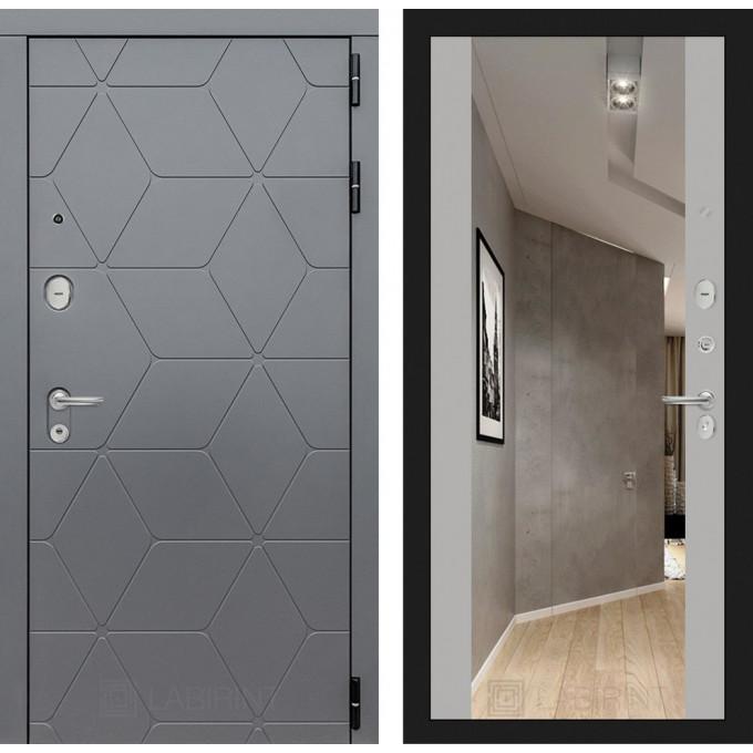 Стальная дверь Лабиринт COSMO Максимум с зеркалом (Грей софт)