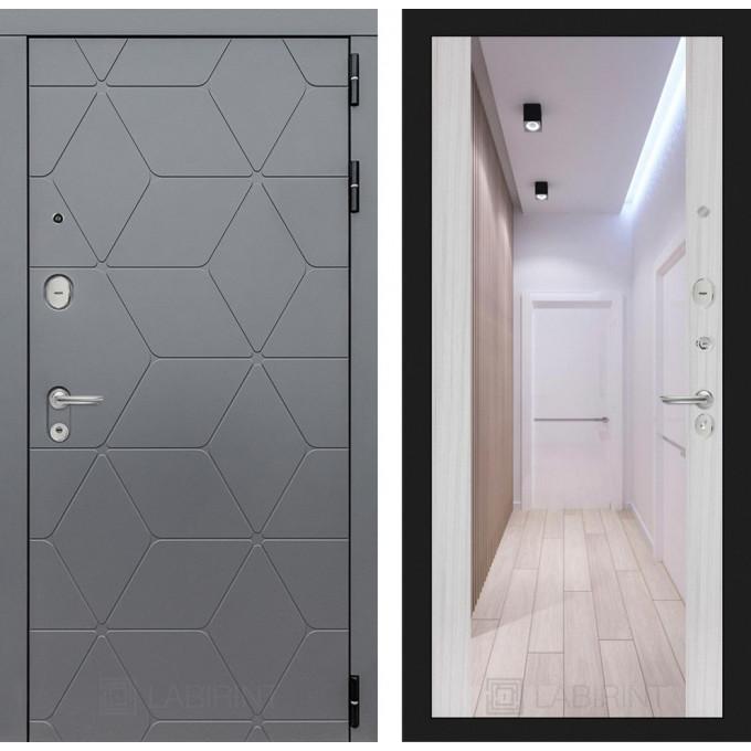 Стальная дверь Лабиринт COSMO Максимум с зеркалом (Сандал белый)