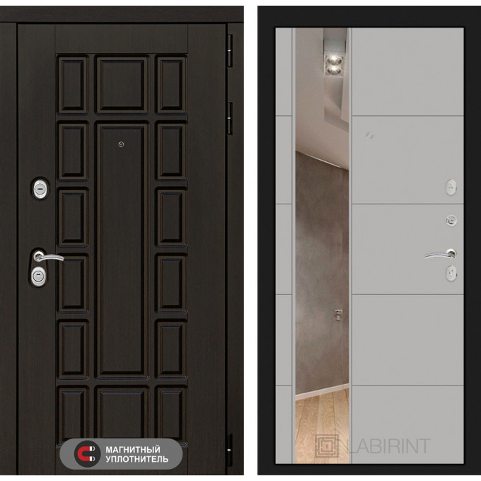 Стальная дверь Лабиринт NEW YORK 19 с зеркалом (Грей софт)