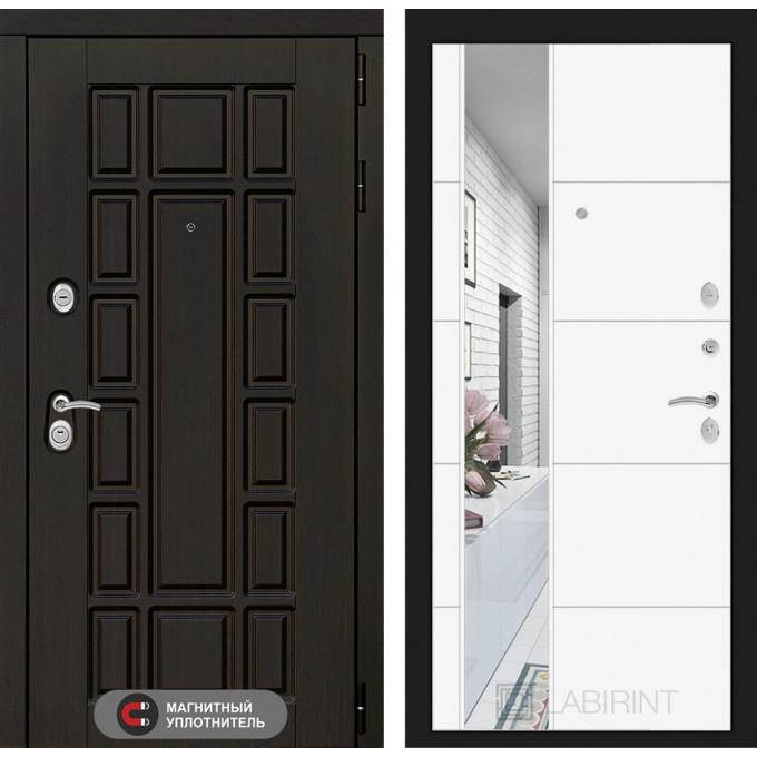 Стальная дверь Лабиринт NEW YORK 19 с зеркалом (Белый софт)