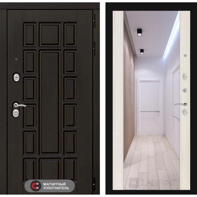Стальная дверь Лабиринт NEW YORK Максимум с зеркалом (Сандал белый)
