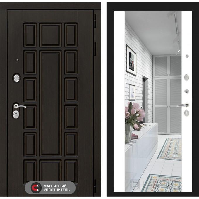 Стальная дверь Лабиринт NEW YORK Максимум с зеркалом (Белый софт)