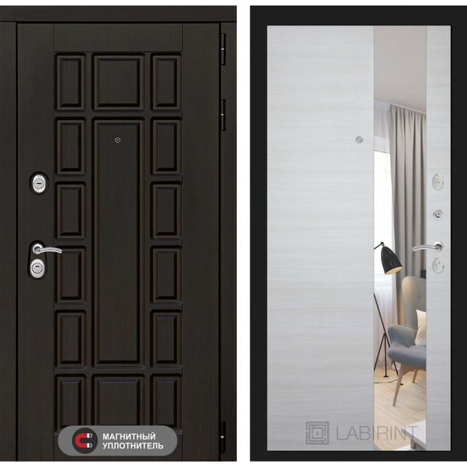 Стальная дверь Лабиринт NEW YORK с зеркалом (Акация светлая)