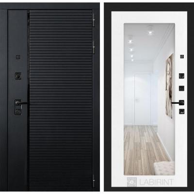 Стальная дверь Лабиринт Пиано 18 с зеркалом (Белое дерево)
