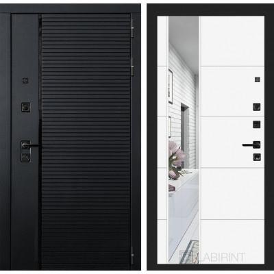 Стальная дверь Лабиринт Пиано 19 с зеркалом (Белый софт)