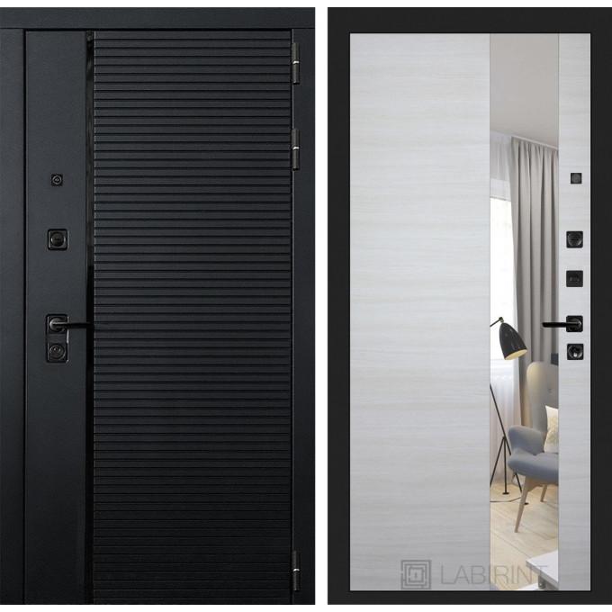 Стальная дверь Лабиринт Пиано с зеркалом (Акация светлая)