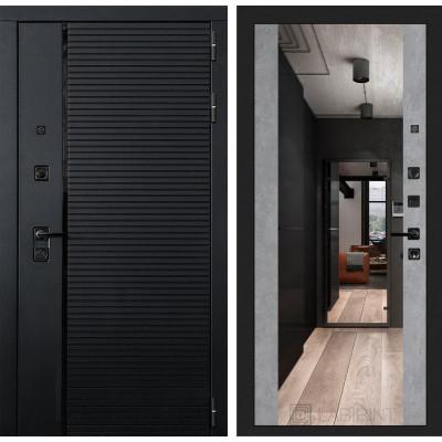 Стальная дверь Лабиринт Пиано Максимум с зеркалом (Бетон светлый)