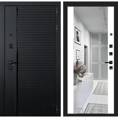 Стальная дверь Лабиринт Пиано Максимум с зеркалом (Белый софт)
