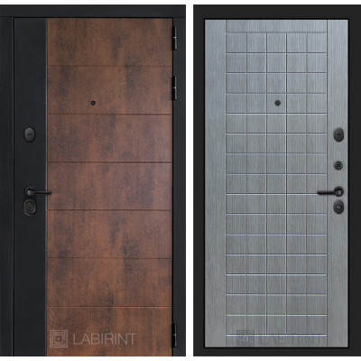 Стальная дверь Лабиринт Техно 09 (Лен сильвер грей)