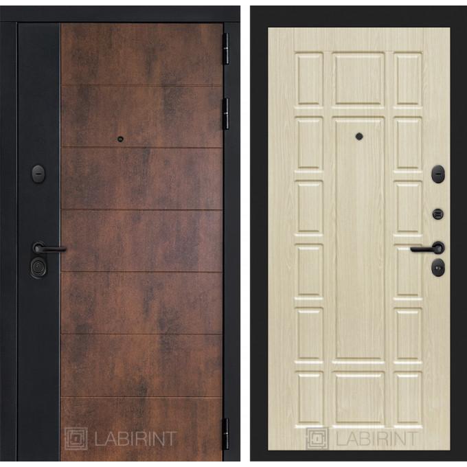 Стальная дверь Лабиринт Техно 12 (Беленый дуб)