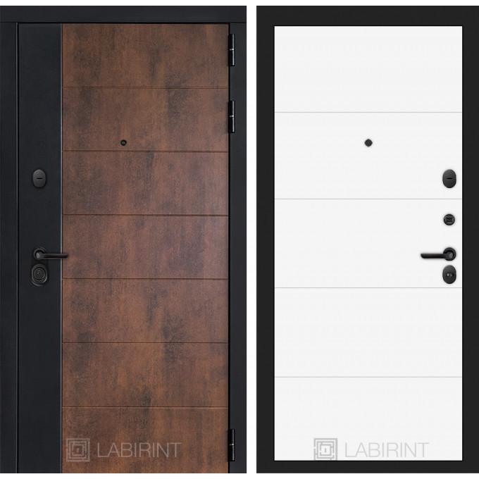 Стальная дверь Лабиринт Техно 13 (Белый софт)