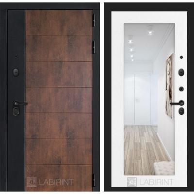 Стальная дверь Лабиринт Техно 18 с зеркалом (Белое дерево)