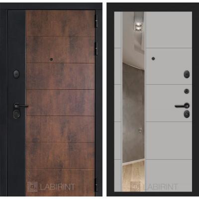 Стальная дверь Лабиринт Техно 19 с зеркалом (Грей софт)