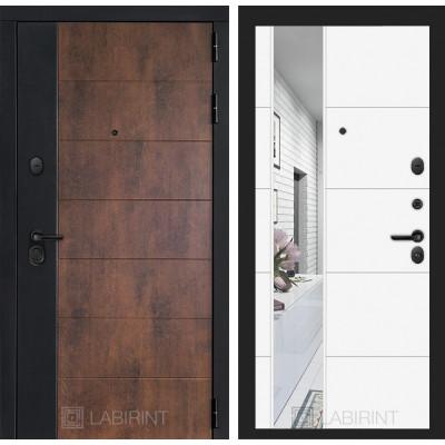 Стальная дверь Лабиринт Техно 19 с зеркалом (Белый софт)