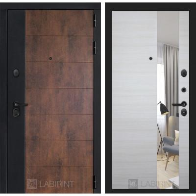 Стальная дверь Лабиринт Техно с зеркалом (Акация светлая)