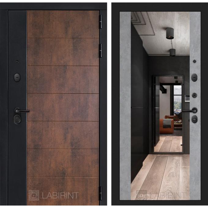 Стальная дверь Лабиринт Техно Максимум с зеркалом (Бетон светлый)
