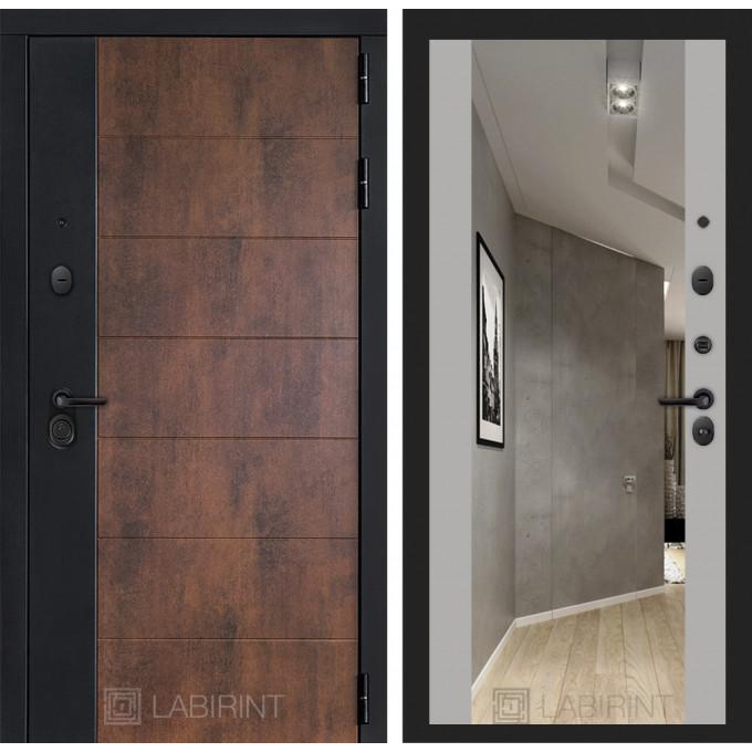Стальная дверь Лабиринт Техно Максимум с зеркалом (Грей софт)