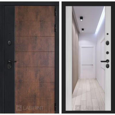 Стальная дверь Лабиринт Техно Максимум с зеркалом (Сандал белый)