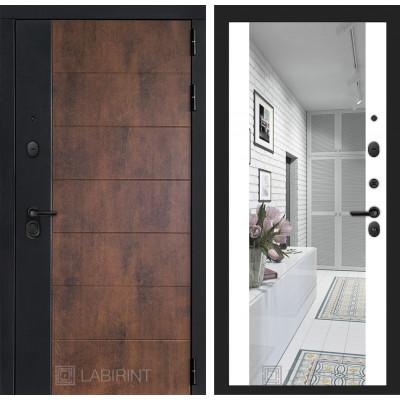 Стальная дверь Лабиринт Техно Максимум с зеркалом (Белый софт)