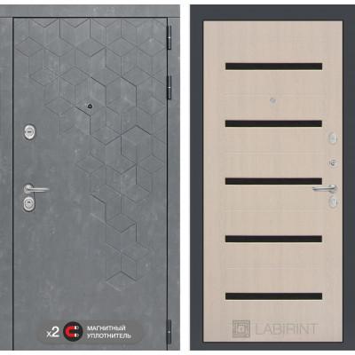 Стальная дверь Лабиринт Бетон 01 (Беленый дуб)