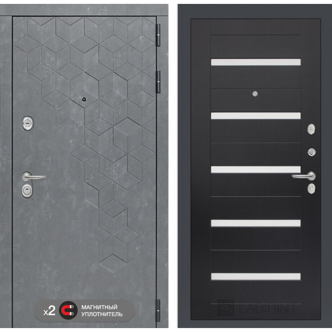 Стальная дверь Лабиринт Бетон 01 (Венге)