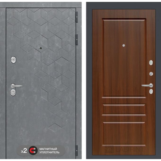 Стальная дверь Лабиринт Бетон 03 (Орех бренди)