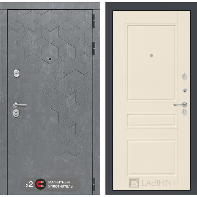 Стальная дверь Лабиринт Бетон 03 (Крем софт)