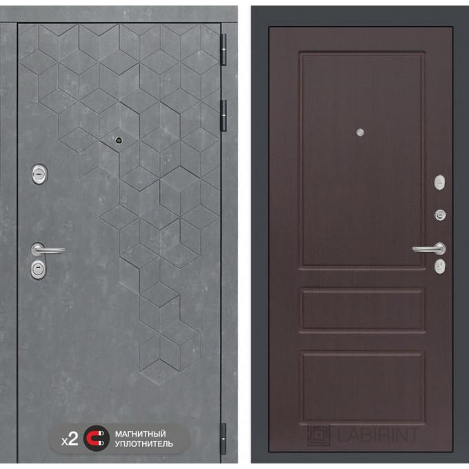 Стальная дверь Лабиринт Бетон 03 (Орех премиум)