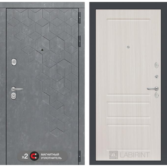 Стальная дверь Лабиринт Бетон 03 (Сандал белый)