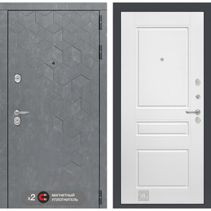 Стальная дверь Лабиринт Бетон 03 (Белый софт)