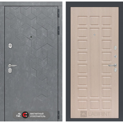 Стальная дверь Лабиринт Бетон 04 (Беленый дуб)
