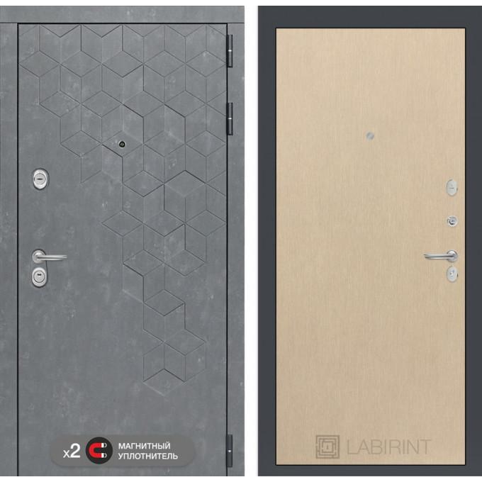 Стальная дверь Лабиринт Бетон 05 (Беленый дуб)