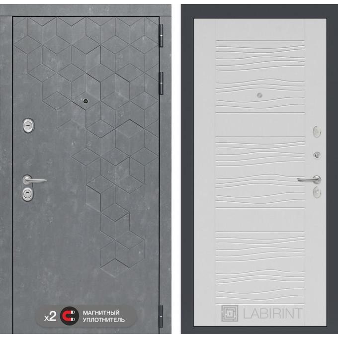 Стальная дверь Лабиринт Бетон 06 (Белое дерево)