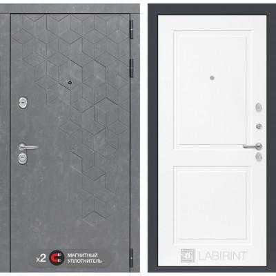 Стальная дверь Лабиринт Бетон 11 (Белый софт)
