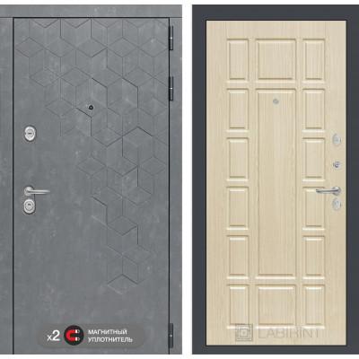 Стальная дверь Лабиринт Бетон 12 (Беленый дуб)