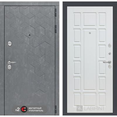 Стальная дверь Лабиринт Бетон 12 (Белое дерево)