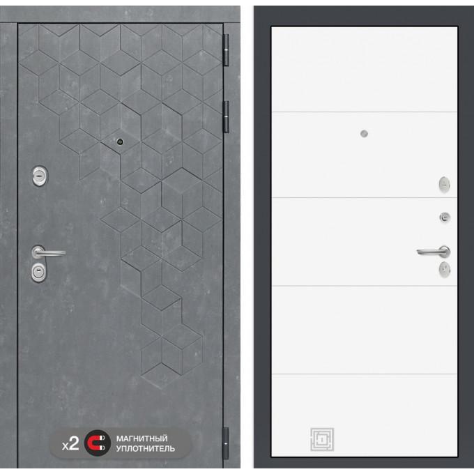 Стальная дверь Лабиринт Бетон 13 (Белый софт)