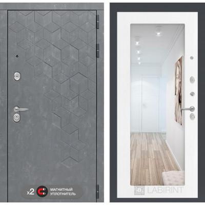 Стальная дверь Лабиринт Бетон 18 с зеркалом (Белое дерево)