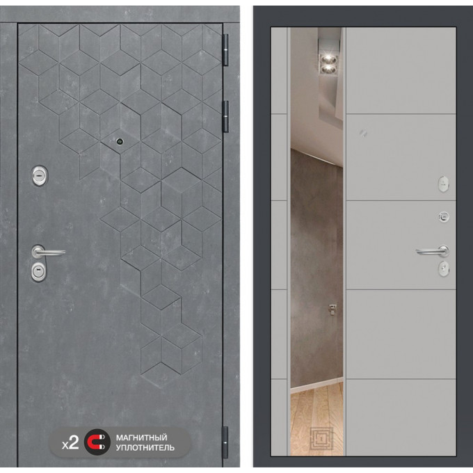 Стальная дверь Лабиринт Бетон 19 с зеркалом (Грей софт)